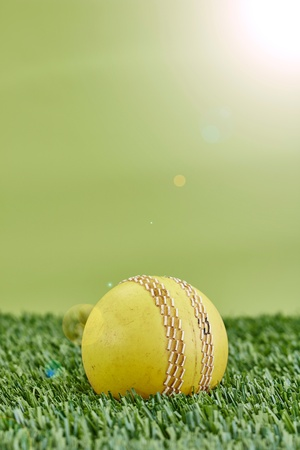 A studio photo of cricket gear on grass Stock Photo