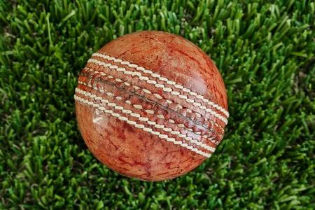 stumped: A studio photo of cricket gear on grass Stock Photo
