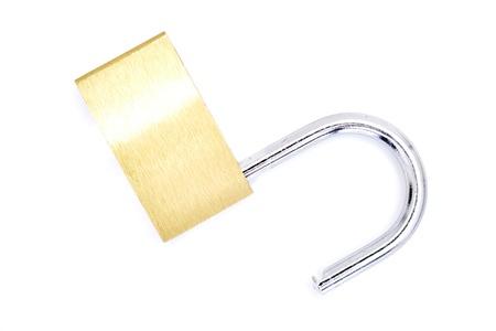 A studio photo of a security padlock