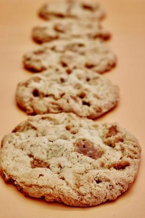 danish: A studio photo of caramel cookies