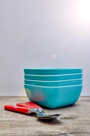 A studio photo of a matte finish square bowl
