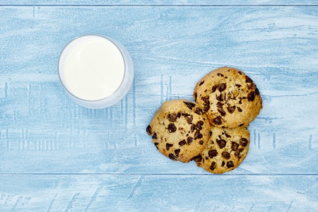 A studio photo of choc chip biscuits