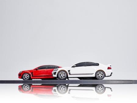 speedster: A studio photo of an electric slot car set