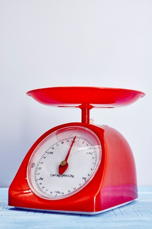 A studio photo of a set of food scales