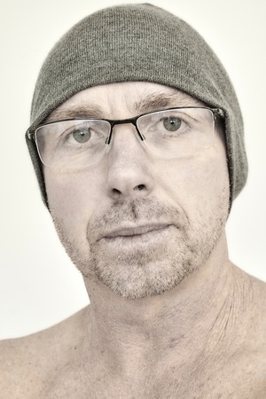 A studio photo of a male model