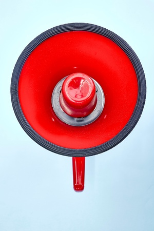 electronic background: A studio photo of a red mega phone Stock Photo