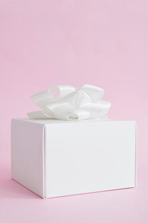 A studio photo of a gift wrapped present