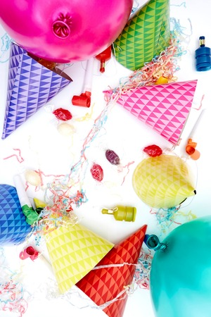 A studio photo of party balloons