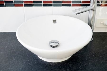A studio photo of a bathroom basin