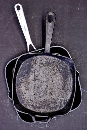 A studio photo of a frying pan skillet