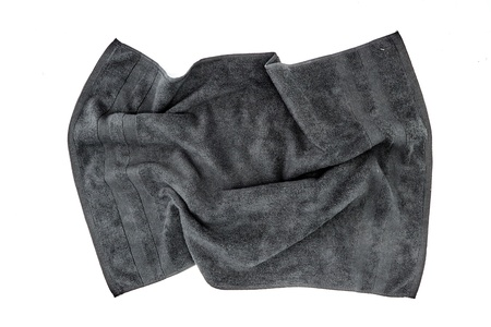 A studio photo of a black bathing towel Stock Photo
