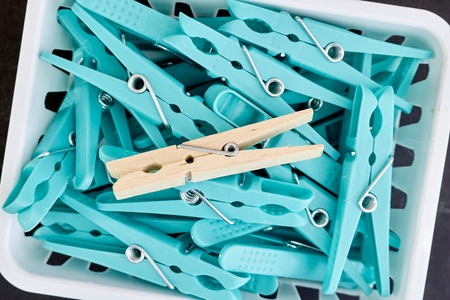 A studio photo of clothes line pegs