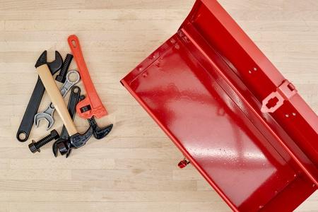 A close up shot of a tool box carry bag
