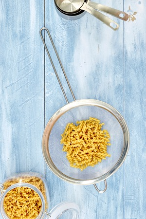 A studio photo of dry pasta noodles Stock Photo