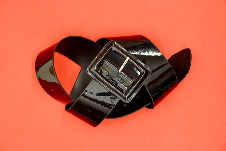 A studio photo of a black clothing belt Stock Photo