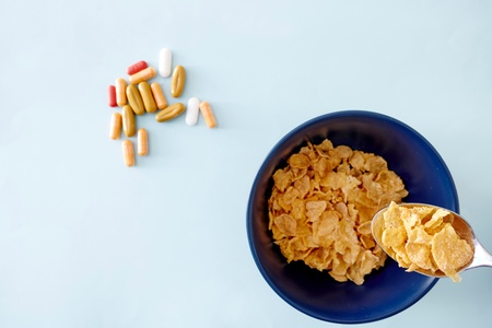 A studio photo of breakfast flakes