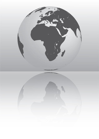 antarctica: silver globe showing africa and europe