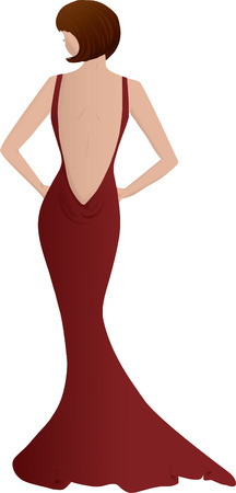 beautiful woman in red evening gown Vector