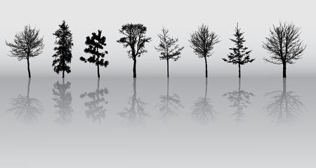 huit hiver beaux arbres silhouettes, très détaillées.