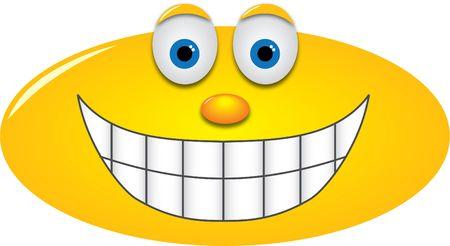 Smiley mit einem großen Grinsen, zeigt Zähne Standard-Bild