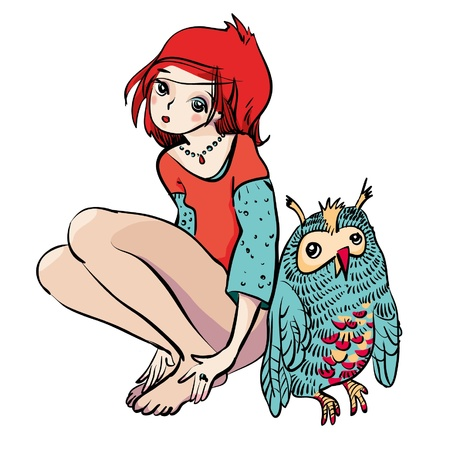 Girl and Owl Stock Vector - 15854459