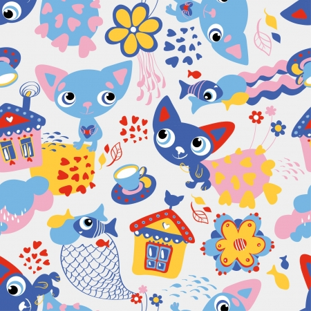 young leaf: Cute funny seamless pattern with cats and fish