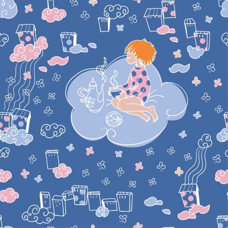Seamless pattern with a girl on a cloud Stock Vector - 15854472