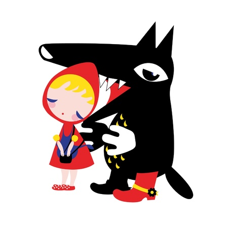 caperucita roja: Caperucita roja y el lobo