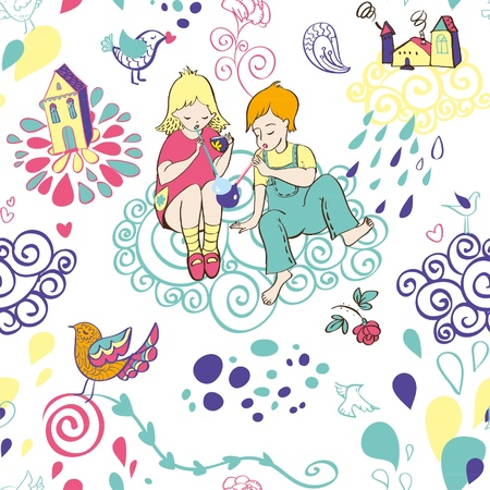 Seamless pattern with children and bubbles Stock Vector - 15854475