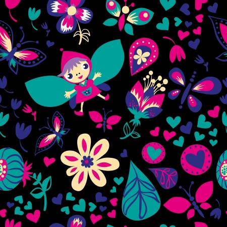 Patrón floral transparente. Fondo oscuro. Sin fisuras patrón se puede utilizar para fondos de escritorio, patrones de relleno, de fondo página web texturas de la superficie. Foto de archivo - 20242144