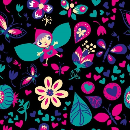 Seamless floral pattern. Dark background. Seamless pattern can be used for wallpaper, pattern fills, web page background, surface textures. Vector