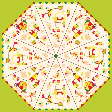Pattern template for childrens umbrella Vector