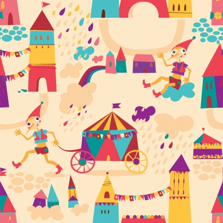 Seamless pattern with colorful houses for childrens background. Seamless pattern can be used for wallpaper, pattern fills, web page background, surface textures Vector