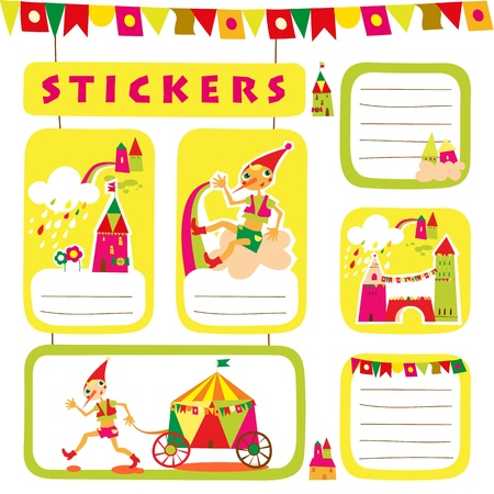 Set of childrens stickers and labels. Place for text. Vector