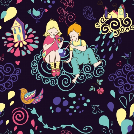 Seamless pattern with children and bubbles. Dark background Vector