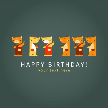 Teddy Bears  Dark background  Happy birthday card  Vector illustration Stock Vector - 20305662