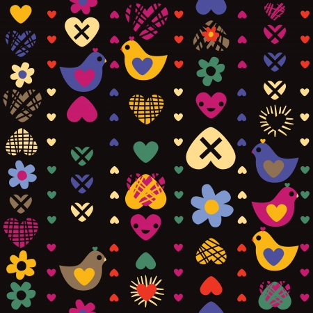 heart bird flower seamless pattern on dark background