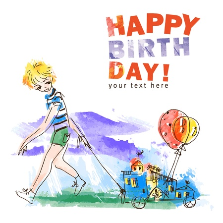 Boy with balloons  Hand drawn vector illustration  Happy birthday card