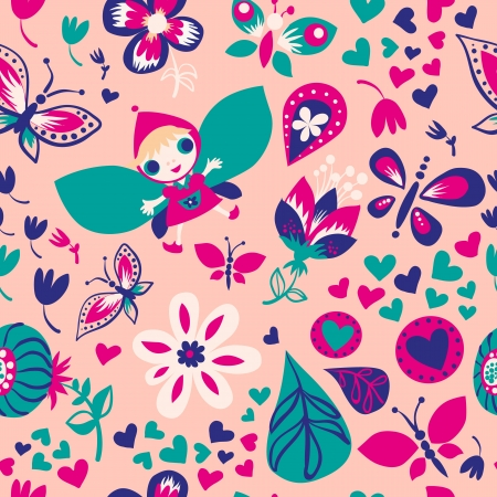 Seamless colorful floral pattern with cute girl Stock Vector - 20305666