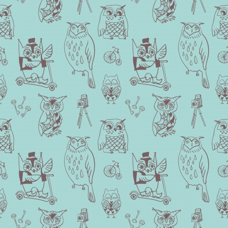 Seamless vintage owl pattern Illustration