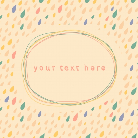 Doodle frame and drops seamless light background Vector