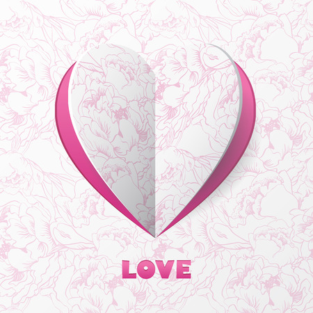 Paper Heart Love Card on Flower Background. Template for design greeting card, wedding invitation, Valentines day background.