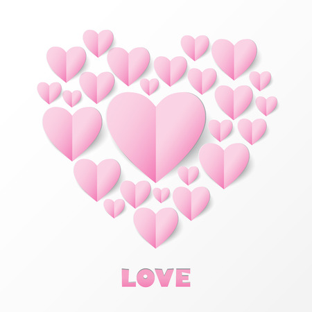 Paper Heart Love Card. Template for design greeting card, wedding invitation, Valentines day background. Vector illustration.