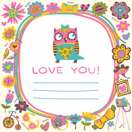love cute: Owls Love cute background. Template for design cartoon greeting card.
