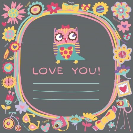 Owls Love cute background. Template for design cartoon greeting card.