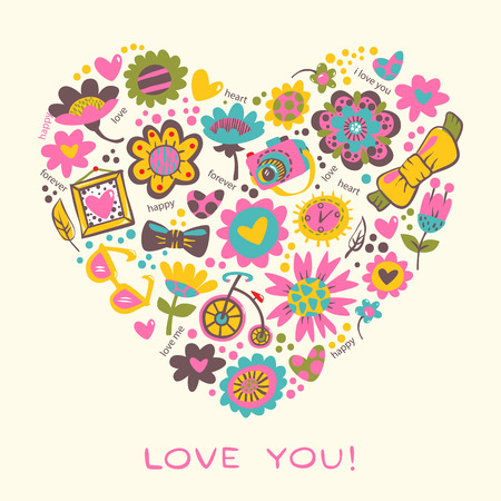 Love Heart made of flowers and fashionable things  illustration