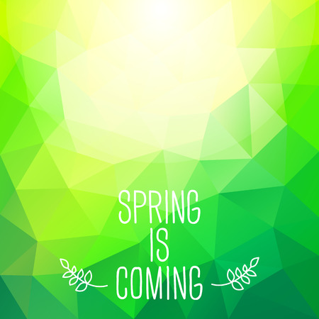 'Spring is coming' abstract polygonal background