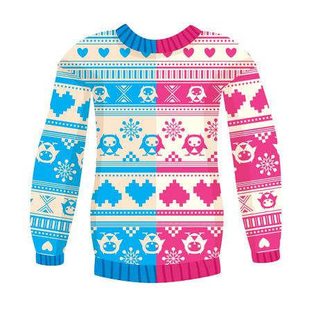 フクロウと心暖かいセーターのイラスト