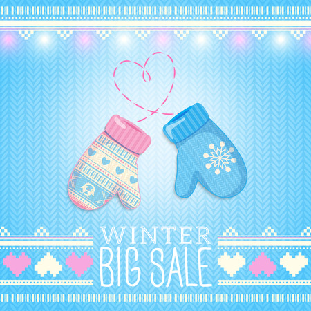 Mittens. Sale Winter Illustration. May be used for winter design, cards, posters and many other. Vector