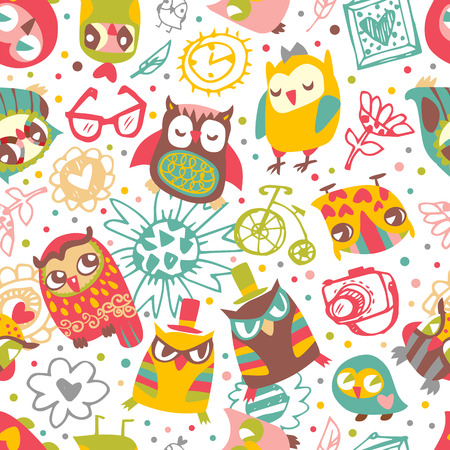 Owl seamless background with flower and fashionable things. Illustration